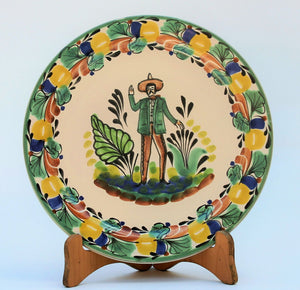 "Mexican Men Salad Plate 8.7"" D Traditional Colors"