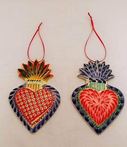 Ornament Sacred Heart Set of 2 in red colors