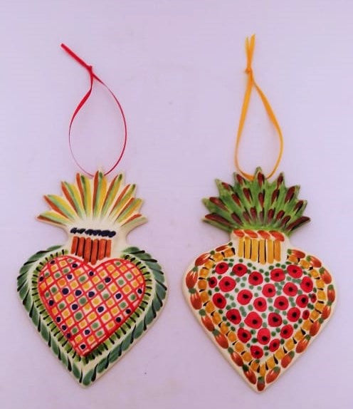 Ornament Sacred Heart Set of 2 party pattern