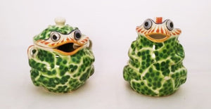 Frog Set of Creamer and Sugar in Green Colors