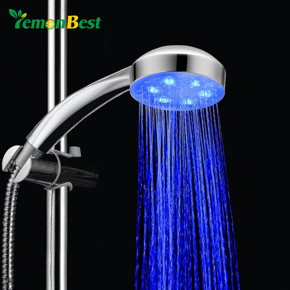 Lemonbest 7 Color Led Shower Head Water Temperature Glow Light Colorful Hand Hold Handheld Shower Water Saving Home Bathroom