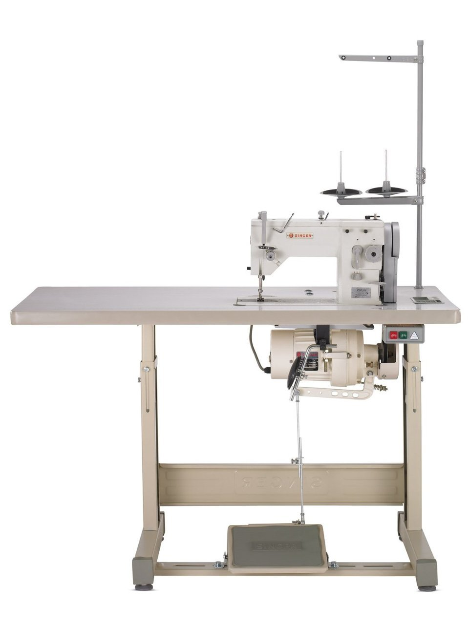 Singer 20-u  Straight Stitch 6 mm, up to 9 mm Zig Zag and Straight stitch  Industrial Sewing Machine, Knee Lifter, Power Stand with Servo Motor. Professional .