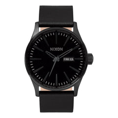 A105-001-00, ALL BLACK, NIXON, SENTRY LEATHER BAND WATCH, MENS WATCHES