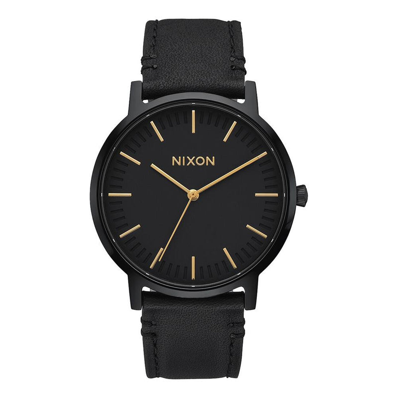 A1058-1031-00. ALL BLACK / GOLD, NIXON, PORTER LEATHER BAND, MENS WATCHES, WINTER 2019