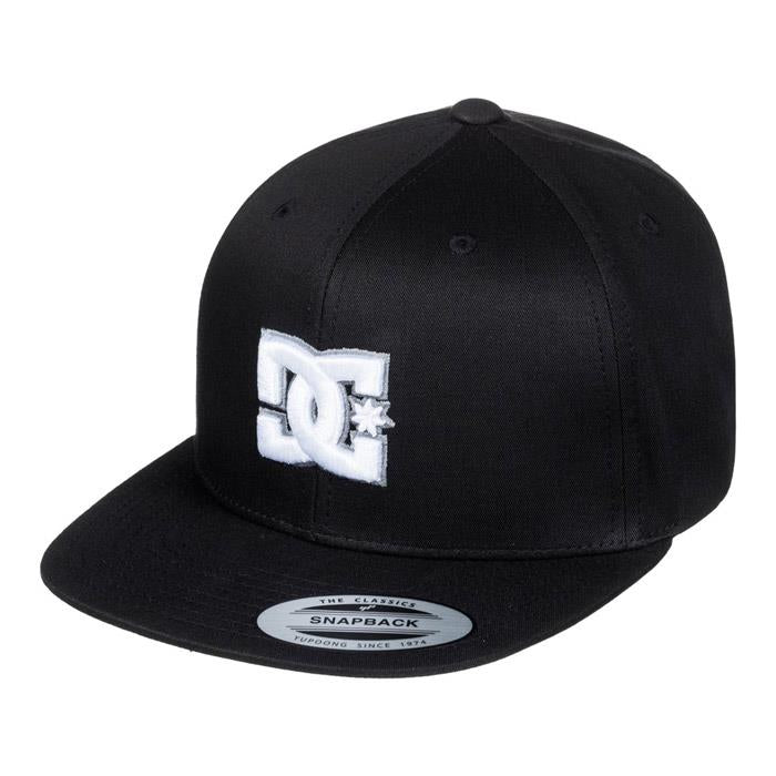 dc snappy snapback hat mens front view mens hats black