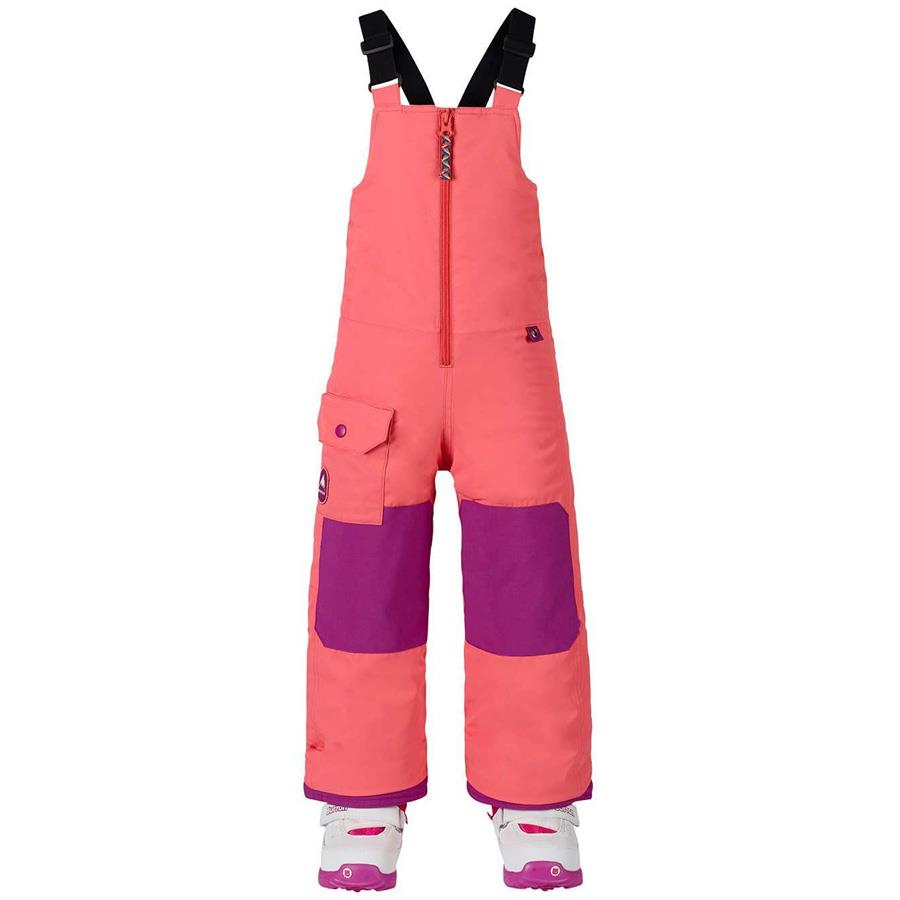 burton minishred maven bib kids front view girls snowpants peach 10352103650