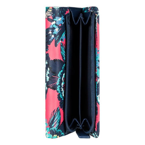roxy my long eyes tri fold wallet top view womens wallets pink/blue erjaa0389-mlj5