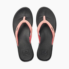 reef Rover Catch Pop Flip Flops top view Womens Flip Flops black/coral rf0a3feq-rca