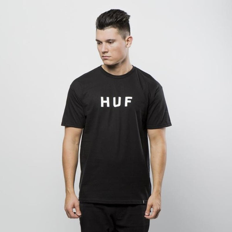 huf Original Logo Tee front view Mens T-Shirts Short Sleeve black tsbsc1111