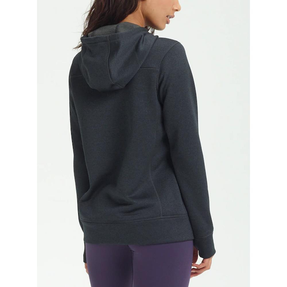 16445108001-True Black Heather, Black, Burton, Oak Pullover Hoodie, Womens Pullover Hoodies, Fall 2019, Back View