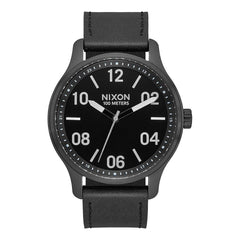 A1243-2998-00, BLACK / SILVER / BLACK, Patrol Leather Watch, Nixon, Mens Leather Band Watches