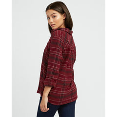 rvca roam flannel back view Womens Long Sleeve Shirts magenta