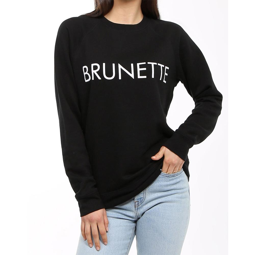 Brunette the label, brunette crew, sweatshirt, womens sweatshirts, black, BTLF002