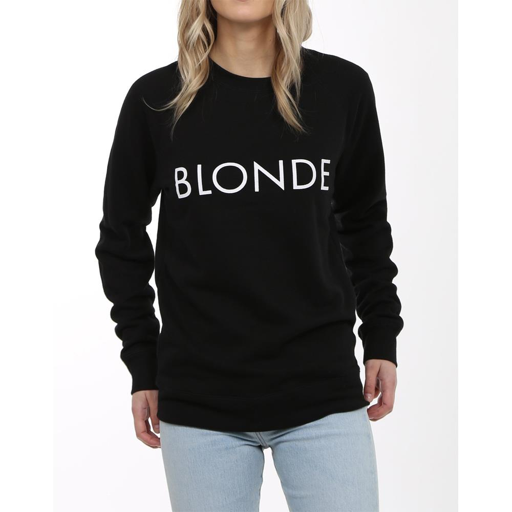 Brunette the label, blonde crew, womens crewneck sweatshirt, black, BTLF003