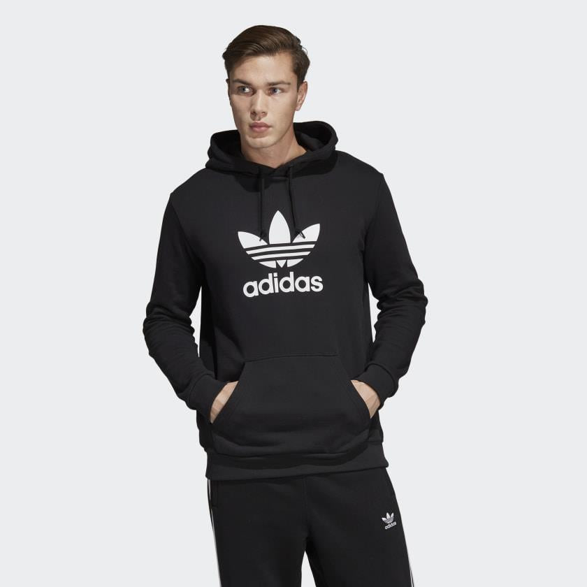 dt7964 Adidas Trefoil Hoodie black front view