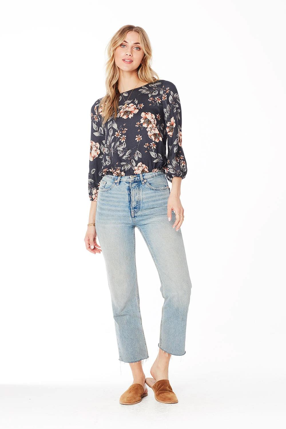 Saltwater Luxe, Becca Blouse, Garden Dream, Navy, S, Front View