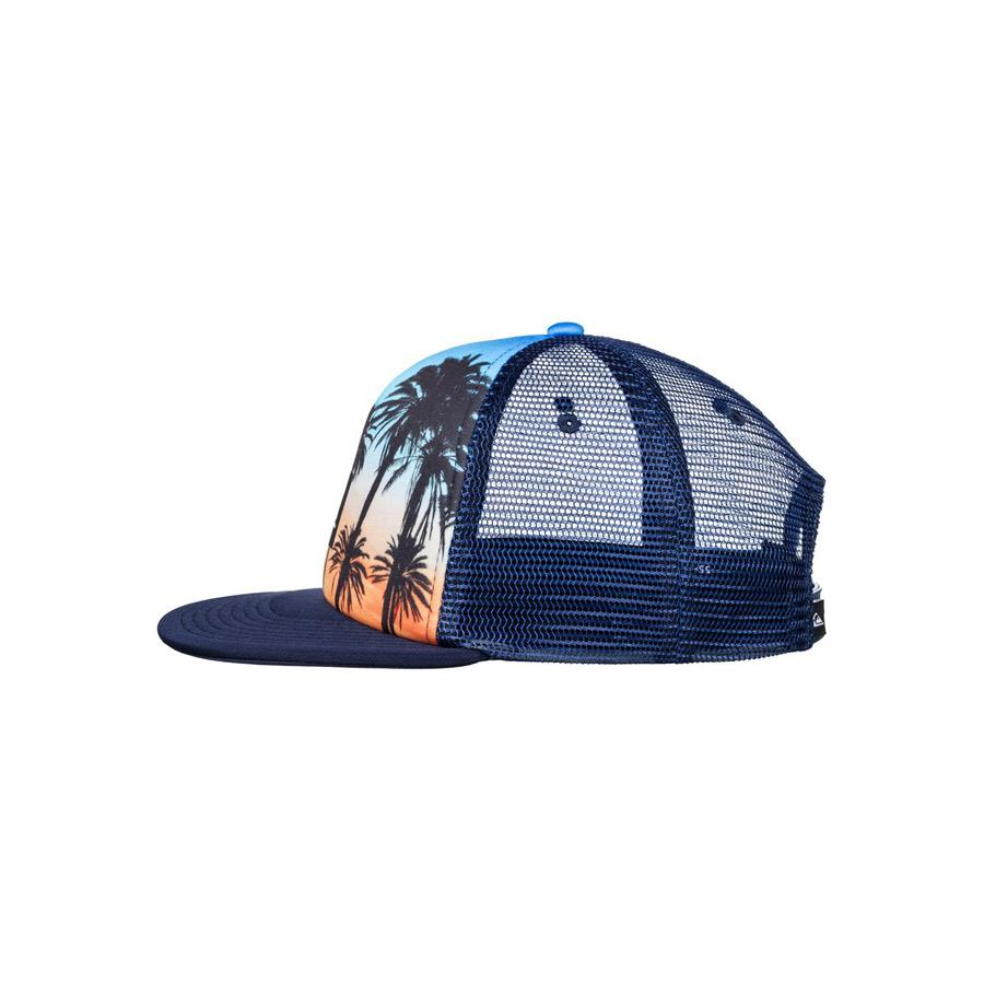 quicksilver mix tape trucker hat boys side view youth hats navy/orange aqbha03284-bjq0
