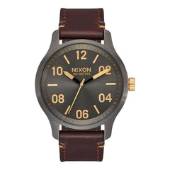 A1243-595-00, Gunmetal Gold, Patrol Leather Watch, Nixon, Mens Leather Band Watches