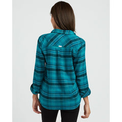 rvca roam flannel back view Womens Long Sleeve Shirts teal