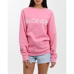 Brunette the label, blonde crew, womens crewneck sweatshirt, Hot Pink, BTLF003