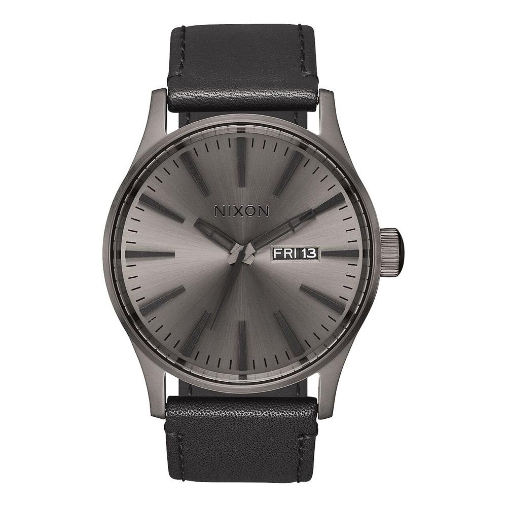 A105-1531-00, GUNMETAL / BLACK, NIXON, SENTRY LEATHER BAND WATCH, MENS WATCHES