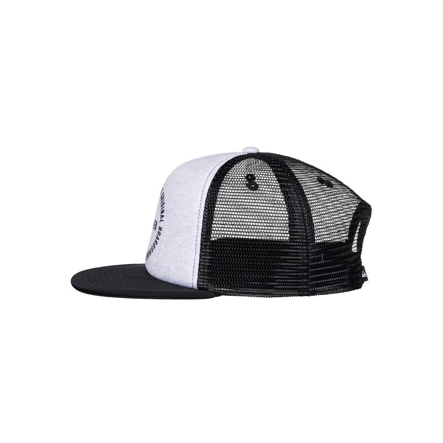 quicksilver mix tape trucker hat boys side view youth hats heather grey/black aqbha03284-knfh