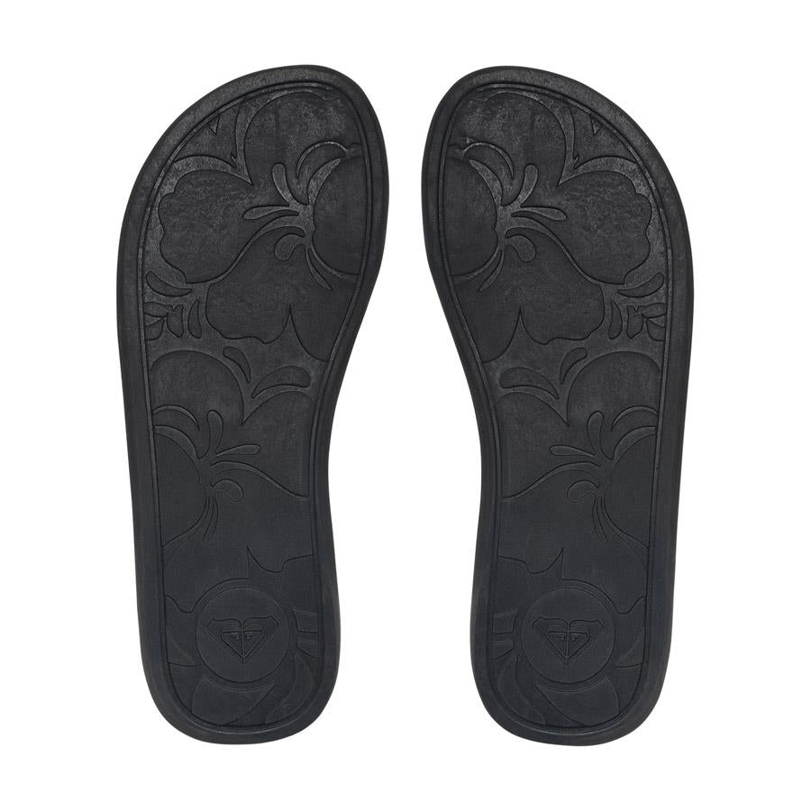 roxy proto ii flip flops bottom view womens flip flops black arjl100677-blk