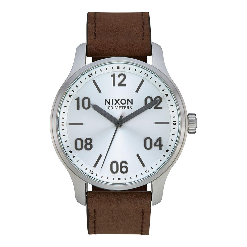 A1243-1113-00, Silver / Brown, Patrol Leather Watch, Nixon, Mens Leather Band Watches