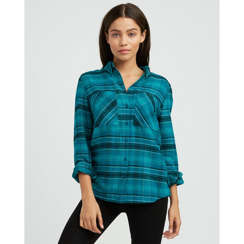 rvca roam flannel front view Womens Long Sleeve Shirts teal