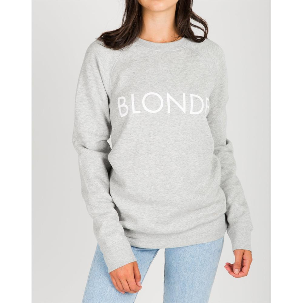 Brunette the label, blonde crew, womens crewneck sweatshirt, grey pebble, BTLF003