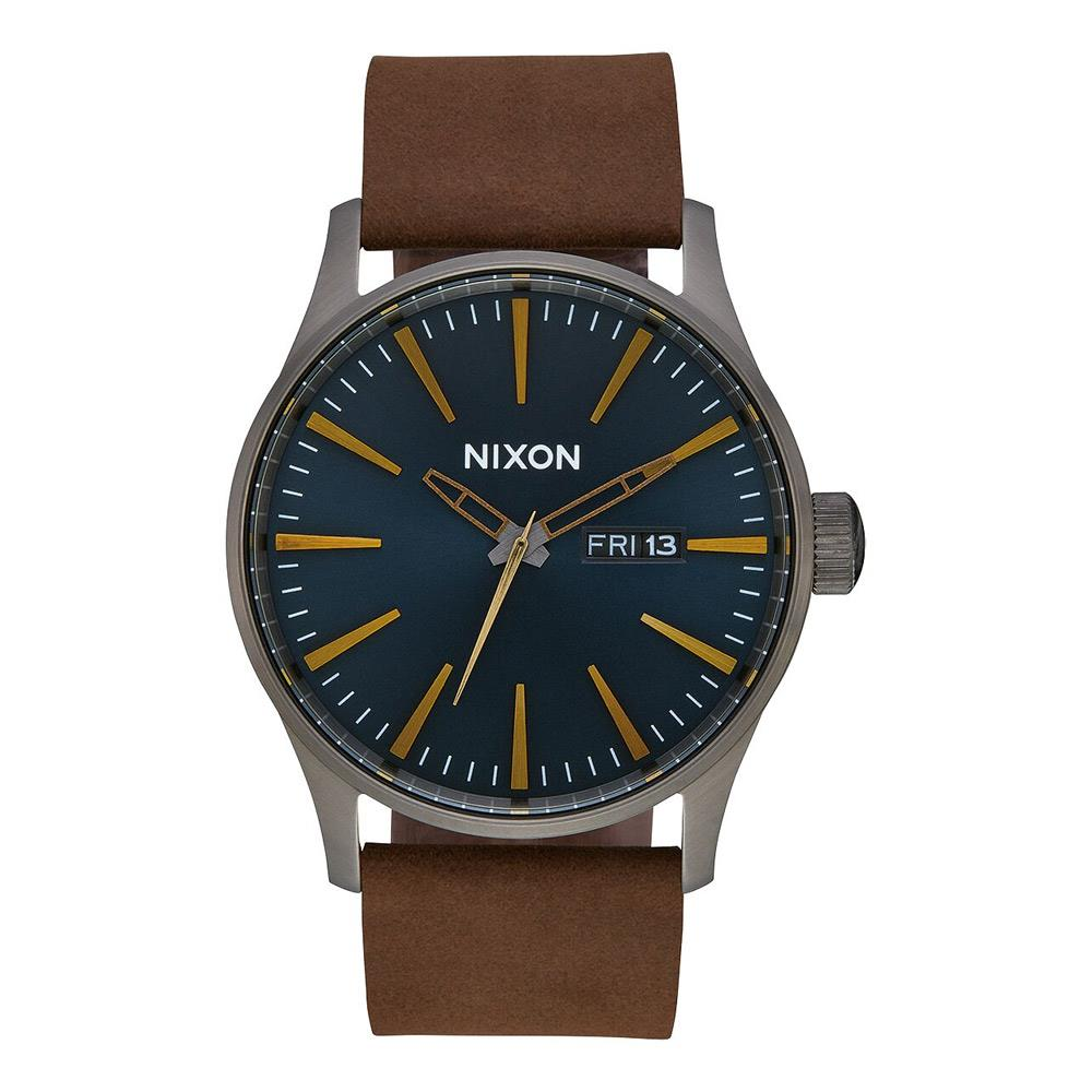 A105-2984-00, GUNMETAL / INDIGO / BROWN, NIXON, SENTRY LEATHER BAND WATCH, MENS WATCHES