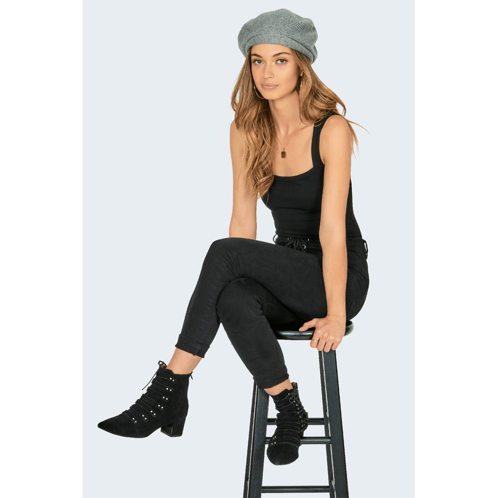 AMUSE SOCIETY MARIN BERET OVERALL VIEW WOMENS FASHION HATS HEATHER GREY