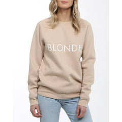 Brunette the label, blonde crew, womens crewneck sweatshirt, Toasted Almond, BTLF003