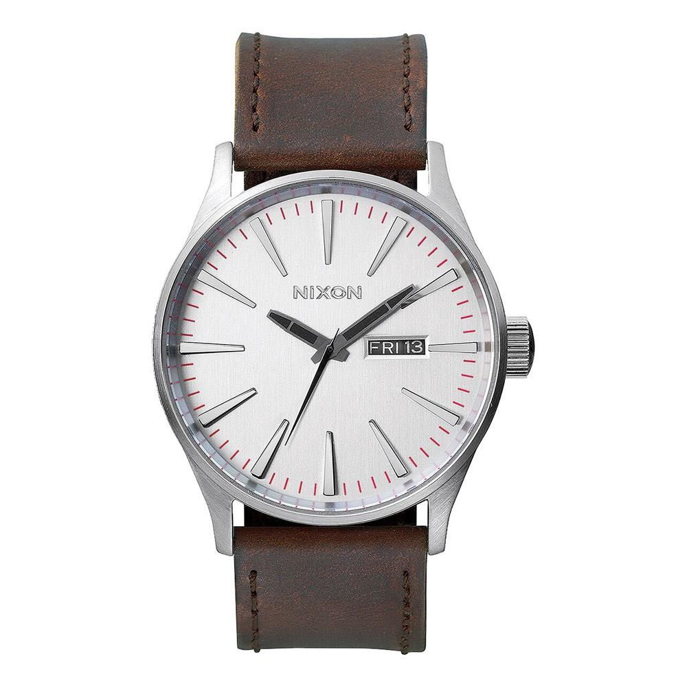 A105-1113-00, SILVER / BROWN, NIXON, SENTRY LEATHER BAND WATCH, MENS WATCHES