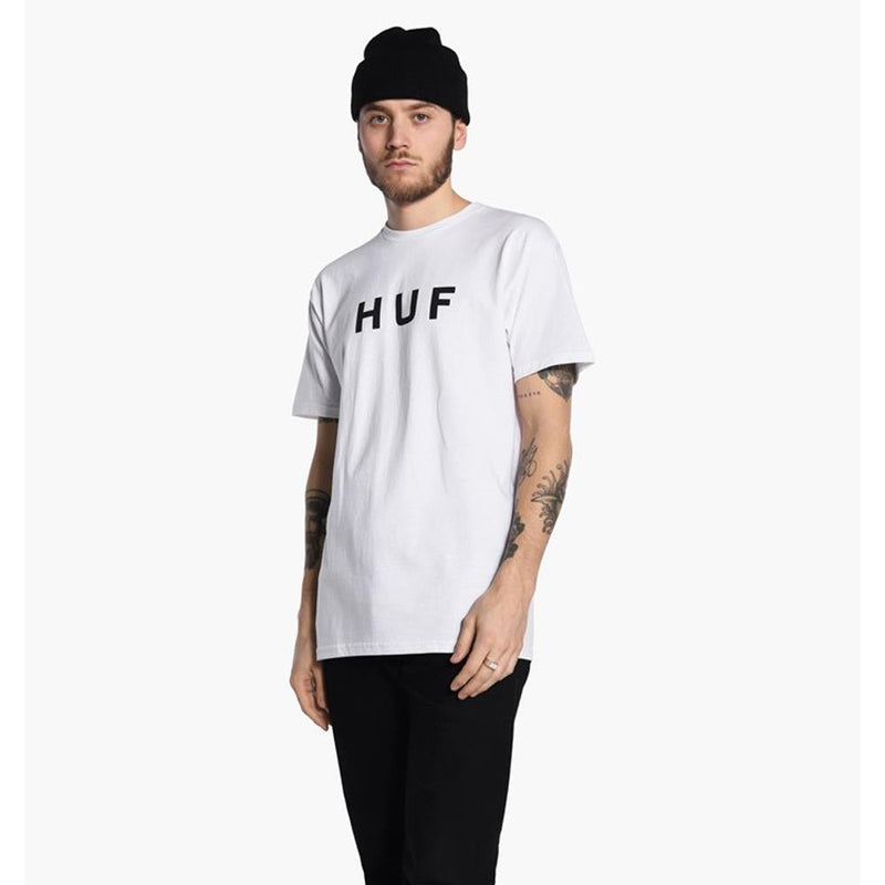 huf Original Logo Tee front view Mens T-Shirts Short Sleeve white tsbsc1111