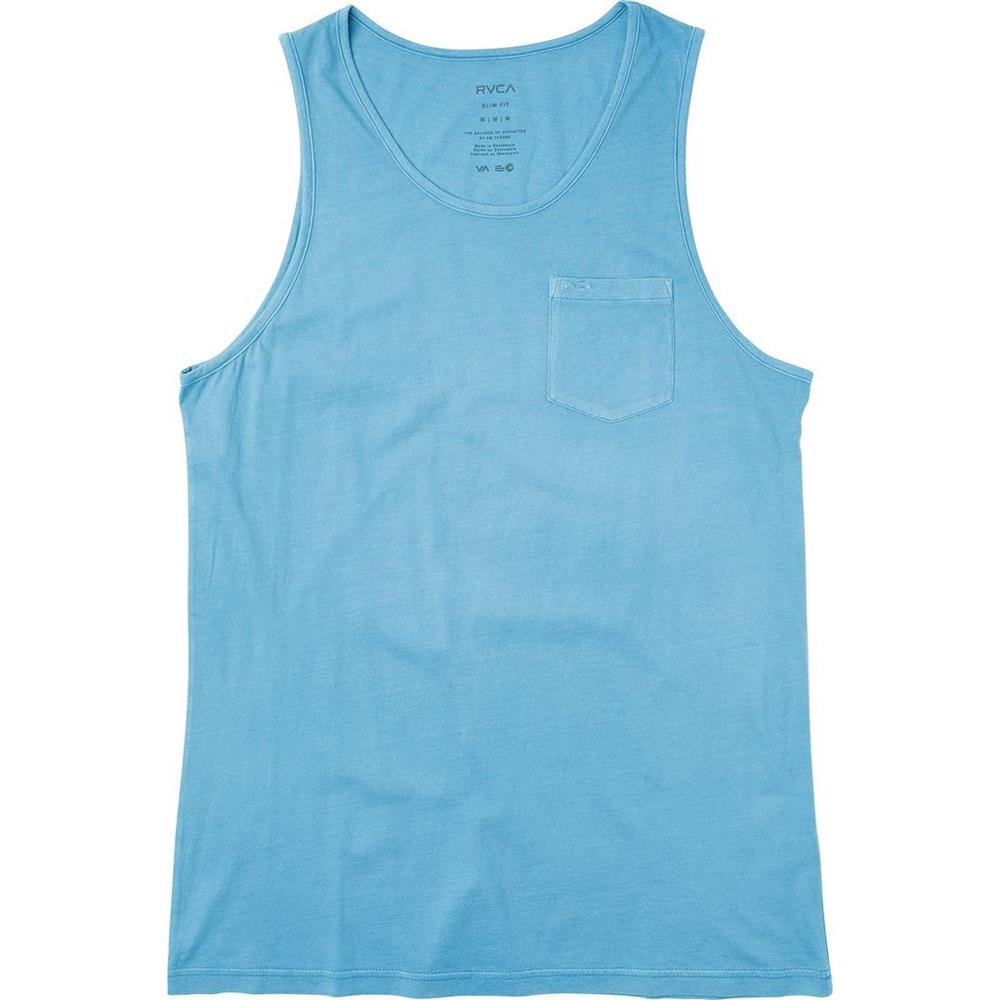 rvca ptc pigment tank front view mens tank tops and jerseys blue