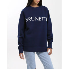 Brunette the label, brunette crew, sweatshirt, womens sweatshirts, navy, BTLF002