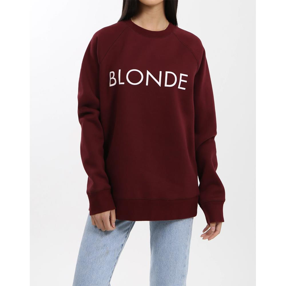 Brunette the label, blonde crew, womens crewneck sweatshirt, Burgundy, BTLF003