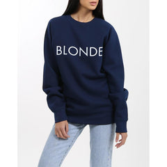 Brunette the label, blonde crew, womens crewneck sweatshirt, Navy, BTLF003
