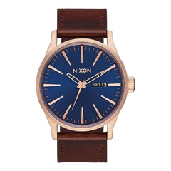 A105-2867-00, ROSE GOLD / NAVY / BROWN, NIXON, SENTRY LEATHER BAND WATCH, MENS WATCHES, WINTER 2019