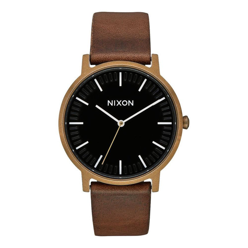 A1058-3053-00 BRASS/ BLACK/ BROWN, NIXON, PORTER LEATHER BAND, MENS WATCHES, WINTER 2019
