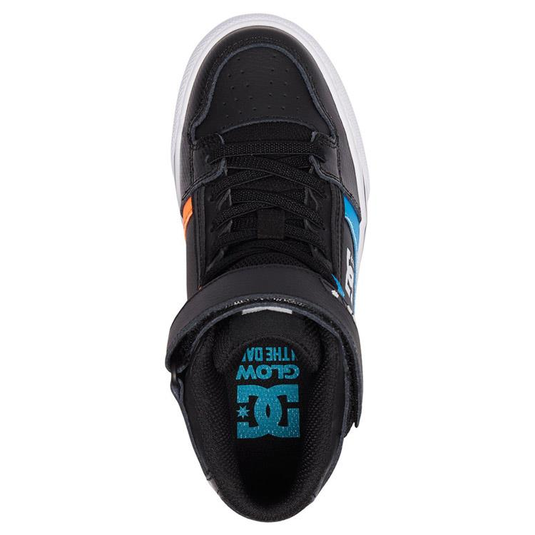 dc pure se ev high top shoes youth side view kids skate shoes blue/black