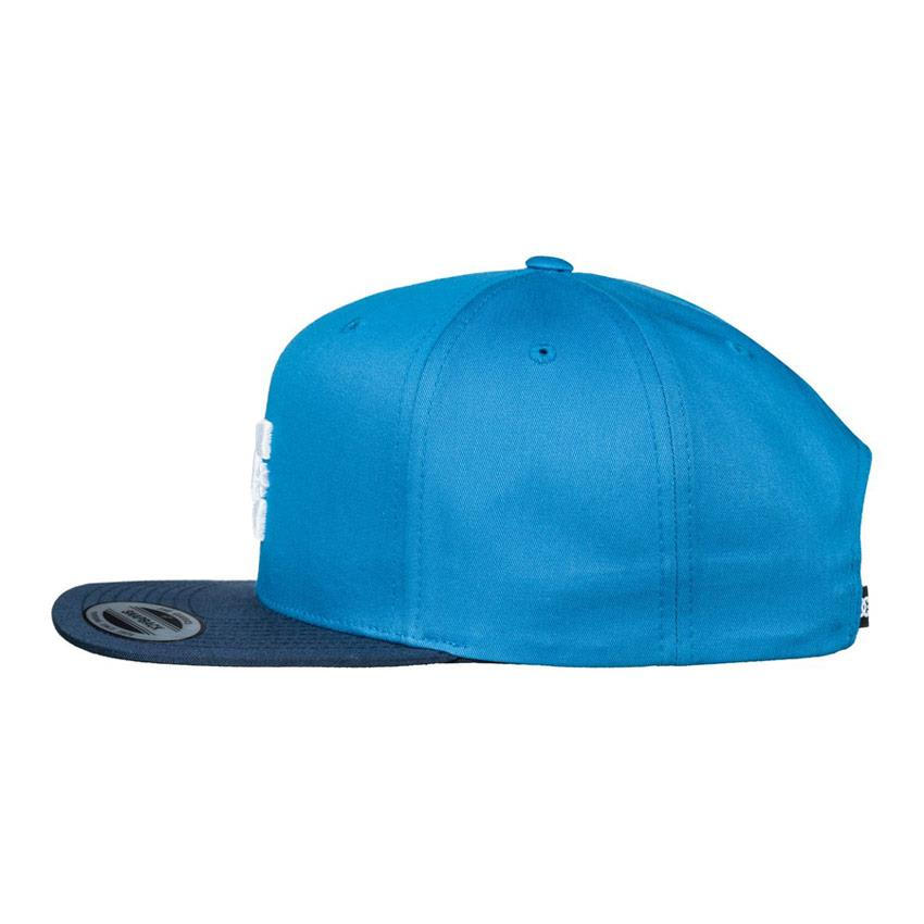 dc snappy snapback hat mens side view mens hats blue