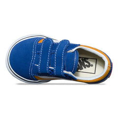 vans old skool v pop toddler top view toddler shoes blue/gold