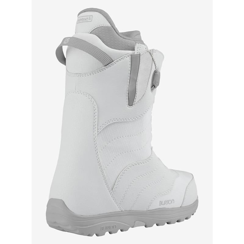 burton mint snowboard boot side view womens boots white/grey 10627103107