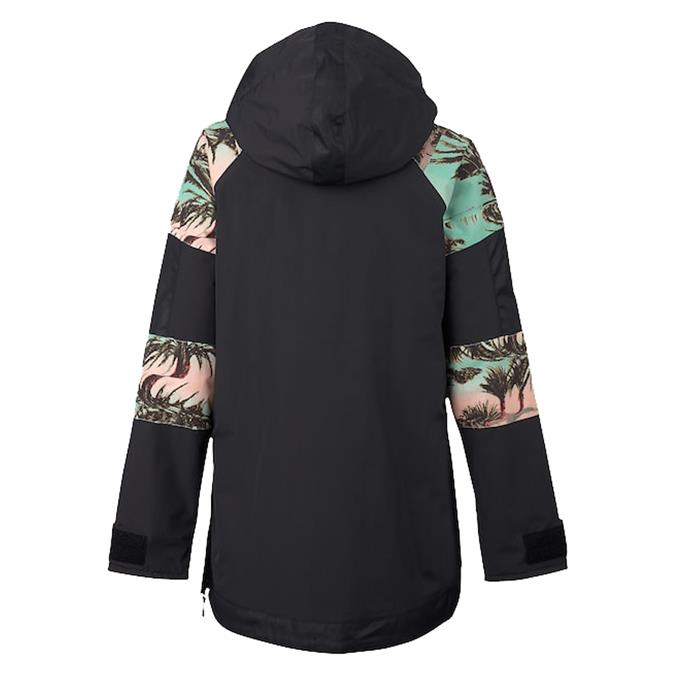 burton cinder anorak jacket womens back view womens shell jackets black/pink/cyan 15003101994