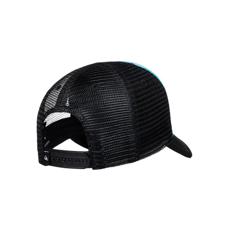quicksilver baby foamnation trucker hat back view toddlers hat black/blue aqiha03071-bmm0