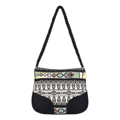roxy feeling this way handbag colse-up view womens purses black/white erjbp03659-kvj0