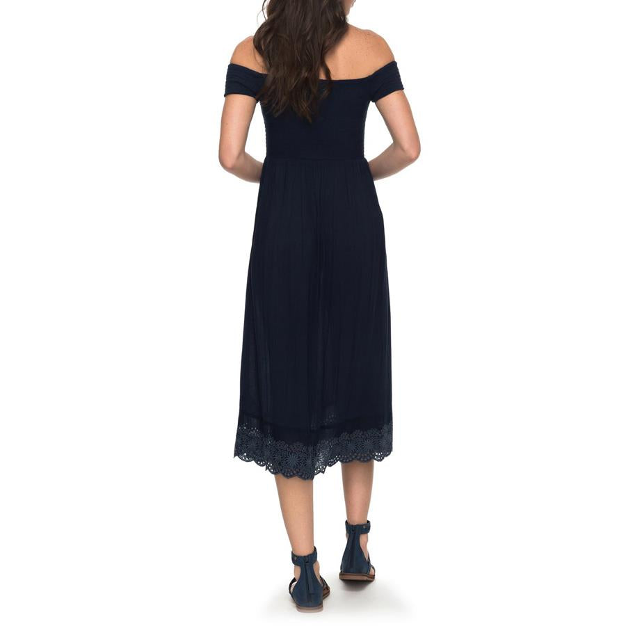 roxy Pretty Lovers Off The Shoulder Dress back view evening dress navy blue erjwd03209-btk0