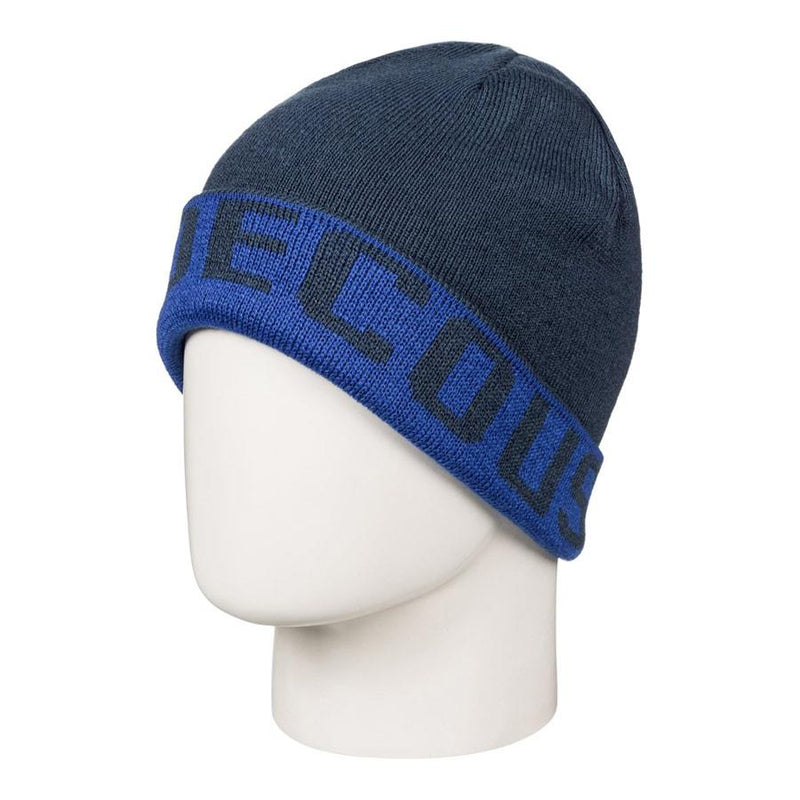 dc Bromont Reversible Cuff Beanie front view youth toques navy blue edbha03014-bqr0